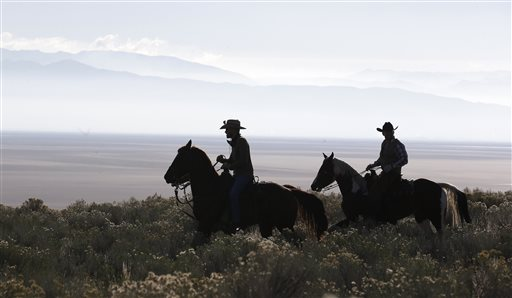 Riders on horseback ride to a herd bison during an annual roundup of one of the country's largest and oldest public herds Friday, Oct. 23, 2015, on Antelope Island, Utah. Utah State Parks workers are moving the animals from across the island on Friday so they can be weighed, tagged and given health checkups. Antelope Island is on the Great Salt Lake, about 50 miles north of Salt Lake City. (AP Photo/Rick Bowmer)