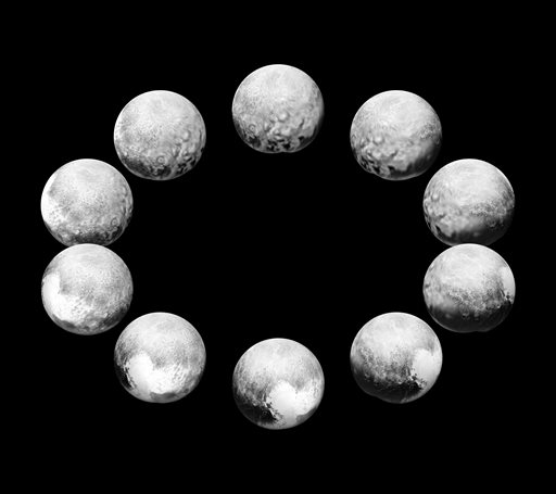 "This photo provided by NASA shows NASA's New Horizons spacecraft capturing Pluto rotating over the course of a full ""Pluto day,""in an unprecedented flyby in July 2015. The space agency released a series of 10 close-ups of the frosty, faraway world Friday, Nov. 20, 2015, representing one full rotation, or Pluto day. A Pluto day is equivalent to 6.4 Earth days. (NASA via AP)"