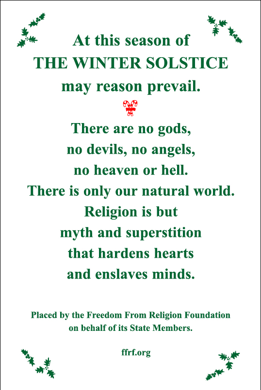 Picture from the Freedom From Religion Foundation press release
