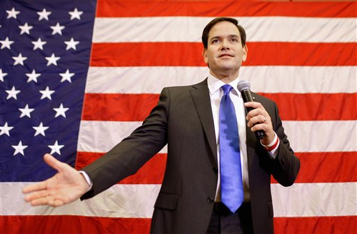Republican presidential candidate, Sen. Marco Rubio, R-Fla. speaks at a town hall meeting in Cedar Rapids, Iowa, Tuesday, Jan. 5, 2016. (AP Photo/Patrick Semansky)