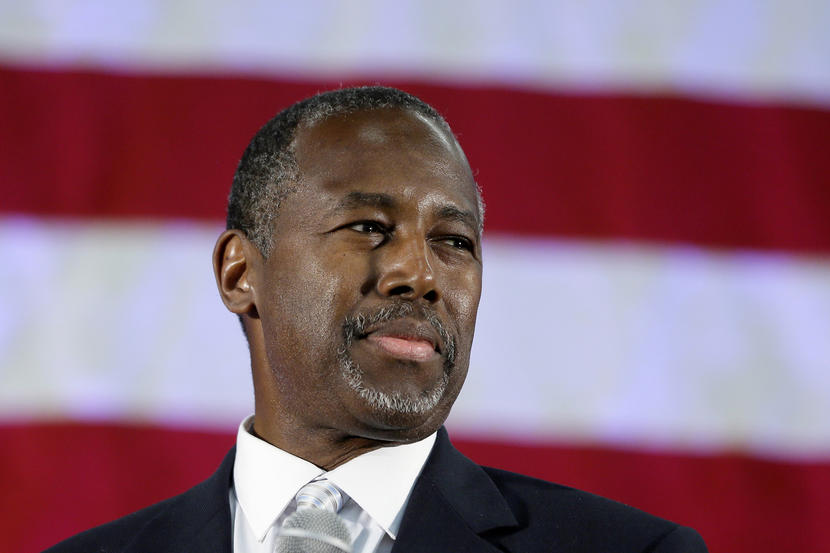 Republican presidential candidate, retired neurosurgeon Ben Carson addresses supporters at Spring Arbor University in Spring Arbor, Mich., , Wednesday, Sept. 23, 2015. (AP Photo/Carlos Osorio)