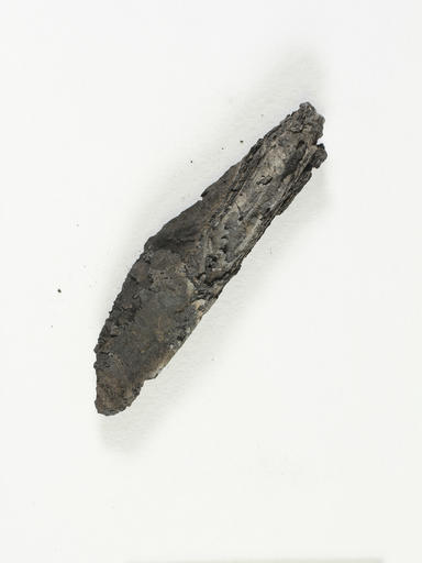 This undated photo released by the Israel Antiquities Authority shows an ancient charred scroll destroyed in a fire centuries ago. The 3D analysis is the first time experts say they have been able to read the text of an ancient scroll without having to physically open it. (Israel Antiquities Authority via AP)