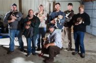 In this Wednesday, Oct. 26, 2016 photo, from left, Jake Rowe holding Knox, Joe Gruber holding Bear, Alex Manchester holding Rosie, Doug Craddock with Annie, Mitchel Craddock holding Brimmie, Brent Witters holding Finn and Dexter Jennings holding Gunner pose for a photo in Vicksburg, Mich. It all started the morning of Mitchel Craddock's 5-day bachelor getaway, a four-wheeling trip to Tennessee arranged by the Best Man in Craddock's Oct. 8 wedding. Friends of Mitchel Craddock, the bridegroom-to-be, each came home from his bash with a puppy. (Bryan Bennett/Kalamazoo Gazette-MLive Media Group via AP)