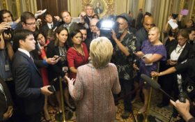 Democratic presidential candidate Hillary Clinton speaks to reporters after meeting with Senate Democrats on Capitol Hill in Washington, Thursday, July 14, 2016. (AP Photo/Evan Vucci)