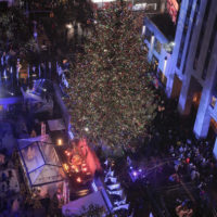 The Rockefeller Center Christmas tree stands lit at Rockefeller Center during the 84th annual Rockefeller Center Christmas tree lighting ceremony, Wednesday, Nov. 30, 2016, in New York. The 94-foot Norway spruce is covered with more than 50,000 multi-colored LED lights. (AP Photo/Julie Jacobson)